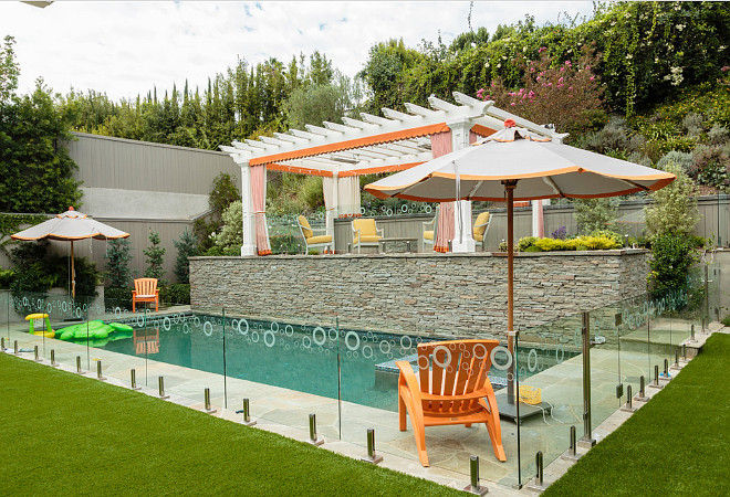 Small backyard pool ideas. Small backyard pool fenced with glass and multiple entertaining areas. Small backyard pool ideas. Small backyard pool layout. #Small #backyard #pool
