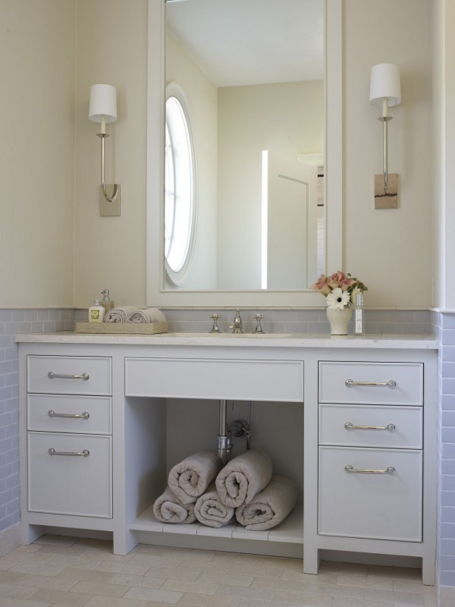 Soft Gray Vanity. Soft Gray Vanity Paint Color. Soft Gray Vanity Paint Color Ideas. Soft Gray Vanity Paint Colors #SoftGray #Vanity #PaintColor Hickman Design Associates.