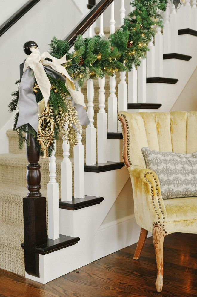 Staircase Christmas Decor. Staircase Railing Christmas Decor. Stairway Christmas Decorating Ideas. #StaircaseChristmas #StairwayChristmas #ChristmasDecor #Christmas Gatehouse No.1.