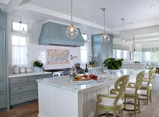 The Kitchen Cabinet color is custom Blue with a glaze by Phillips Painting; The Kitchen Island is Dove White by Benjamin Moore.