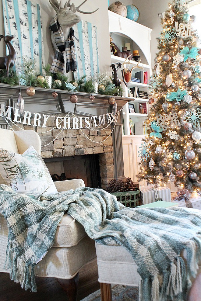 turquoise christmas decor