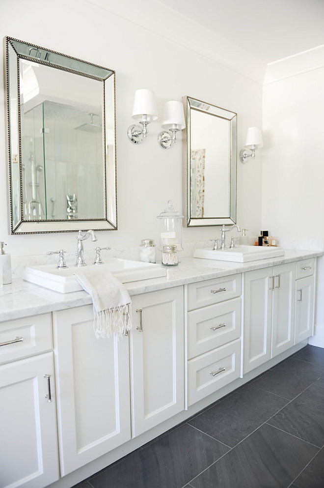 White Bathroom Gray Flooring. White bathroom with grey flooring. White bathroom with gray slate flooring. #White #bathroom #Gray #Flooring Monika Hibbs.