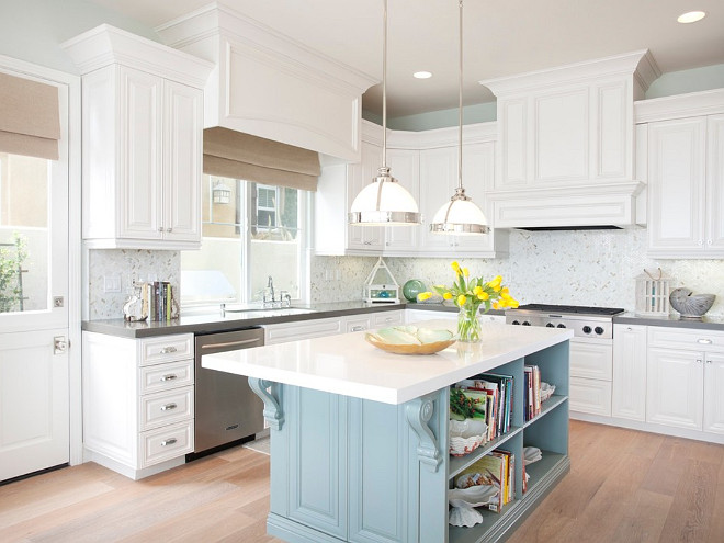 White Kitchen with Blue Island. White kitchen with light blue island. White kitchen with light blue island paint color. #Whitekitchen #lightblueisland AGK Design Studio.