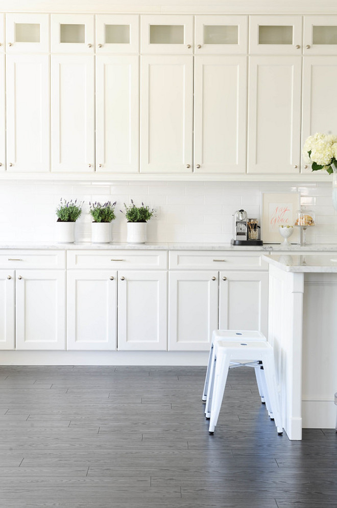 White kitchen painted in Simply White OC-117 Benjamin Moore. Monika Hibbs.