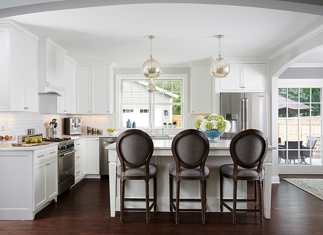 White kitchen with gray barstools. White kitchen with gray barstools from Restoration Hardware. #Whitekitchen #Gray #barstools #RestorationHardware Anchor Builders.