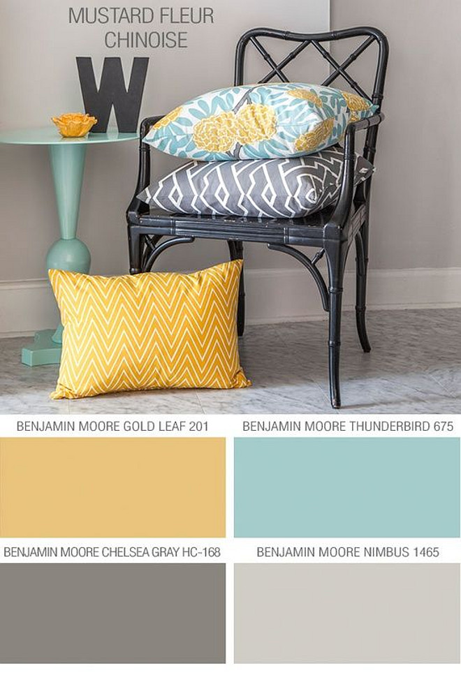 Beach House Color Palette. Transitional Beach House Color Palette. Benjamin Moore Gold Leaf 201. Benjamin Moore Thunderbird 675. Benjamin Moore Chelsea Gray HC-168. Benjamin Moore Nimbus 1465. #beachHouse #ColorPalette #PaintColors #BenjaminMoorePaintColors Via Cute Decor.