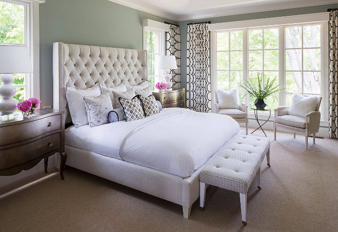 """Bernhardt Bed. Master bedroom painted in Benjamin Moore Iced Marble 1578. Bed is Maxime Wing Bed (68-1/2"""" H) by Bernhardt. #Bernhardt #Bed #BenjaminMooreIcedMarble1578 Martha O'Hara Interiors."""