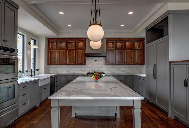 Two Toned Gray Kitchen. Two Toned Gray Kitchen Paint Color. Two Toned Gray Kitchen with stained upper cabinets. Two Toned Gray Kitchen Two Toned Gray Kitchen #TwoTonedKitchen #GrayKitchen #TwoTonedGrayKitchen Allard Ward Architects.