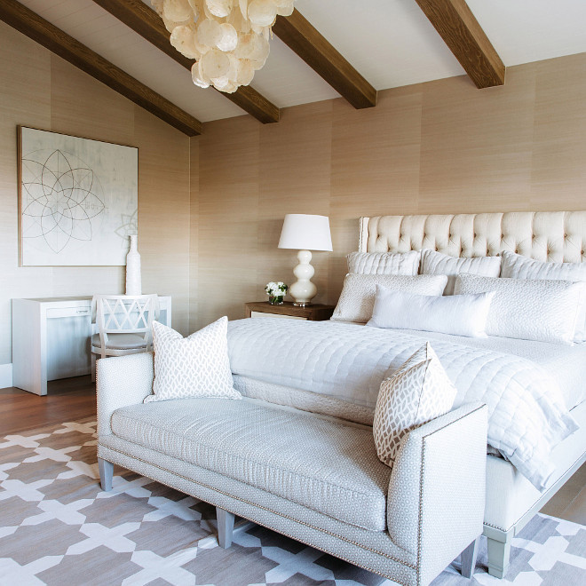 Neutral Bedroom Ideas. Neutral Bedroom With Grasscloth Wallpaper, Beam  Ceiling, Linen Furniture And