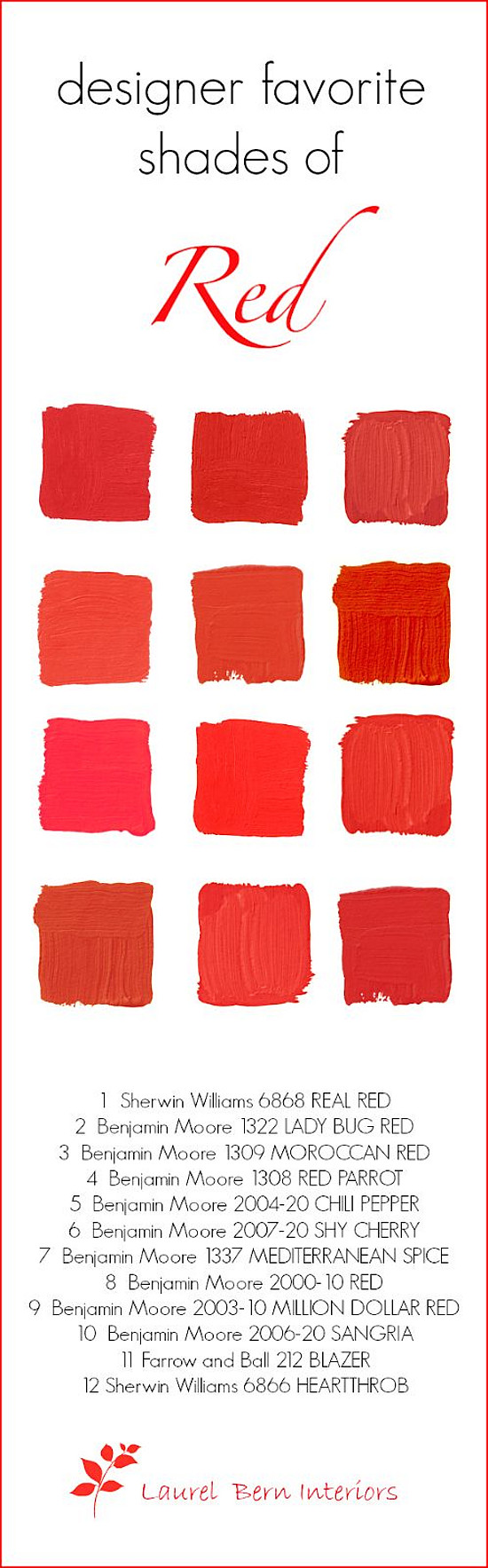 Red Door Paint Color Ideas: Sherwin Williams SW6868 Real Red. Benjamin Moore 1322 Ladybug Red. Benjamin Moore 1309 Moroccan Red. Benjamin Moore 1308 Red Parrot. Benjamin Moore 2024-20 Chilli Pepper. Benjamin Moore 2007-20 Shy Cherry. Benjamin Moore 1337 Mediterranean Spice. Benjamin Moore 2000-10 Red. Benjamin Moore 2006-20 Sangria. Farrow and Ball 212 Blazer. Sherwin Williams SW6866 Heartthrob. Laurel Bern Interiors.