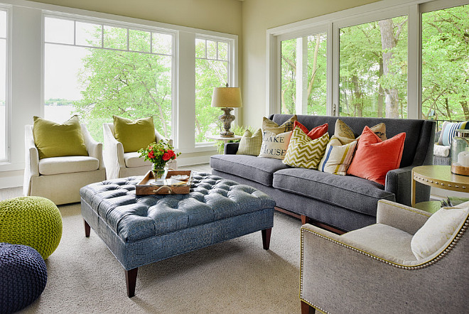 Living room. Lake House Living room. Lake House Living room Sofa. Lake House Living room Chairs. Lake House Living room Pouff. Lake House Living room Color. Lake House Living room color scheme. #LakeHouse #Livingroom Studio M Interiors.