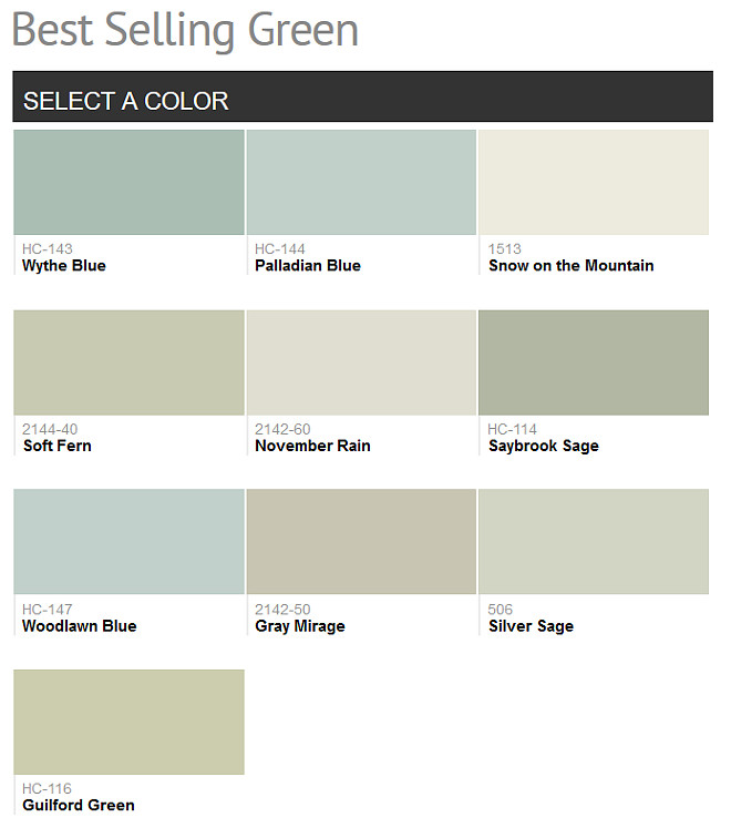 Green Benjamin Moore Paint Colors. Best Selling Green Benjamin Moore Paint Colors. Benjamin Moore Wythe Blue. Benjamin Moore Palladian Blue. Benjamin Moore Snow on the Mountain. Benjamin Moore Soft Fern. Benjamin Moore November Rain. Benjamin Moore Saubrook Sage. Benjamin Moore Woodlaw Blue. Benjamin Moore Gray Mirage. Benjamin Moore Silver Sage. Benjamin Moore Guilford Green. #Green #PaintColor #BenjaminMoore #PopularGreenPaintColors