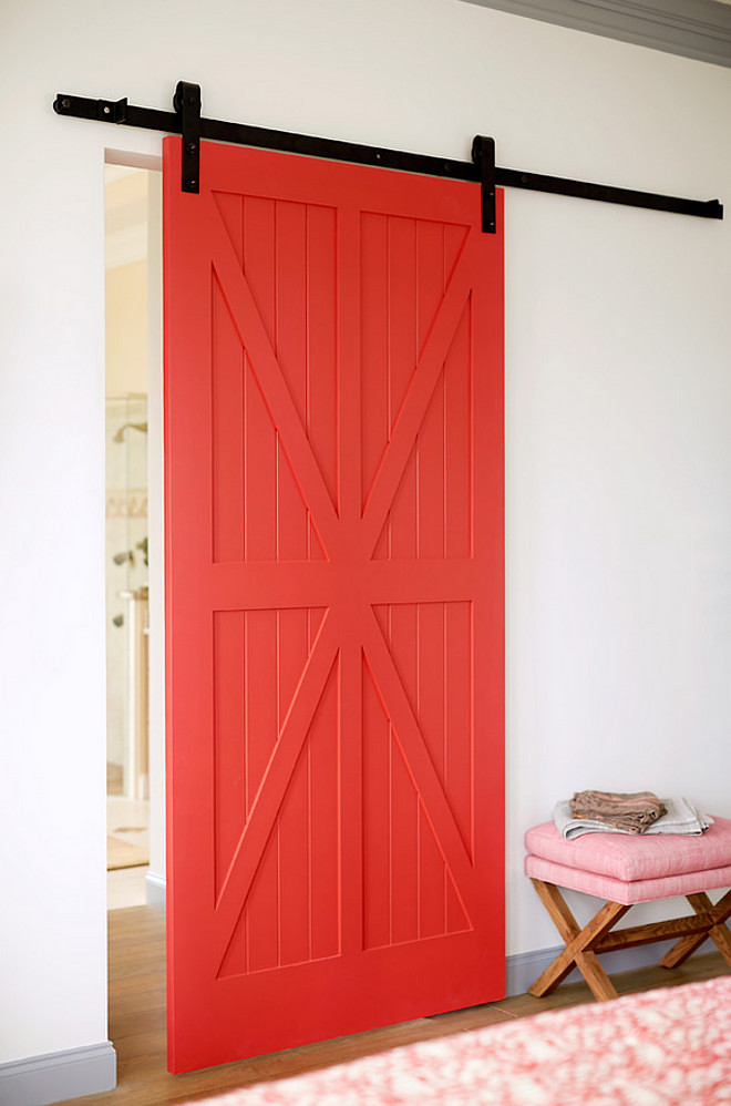 Red barn door paint color. Red barn door paint color is Benjamin Moore Red Parrot 1308. Red door paint color Benjamin Moore Red Parrot 1308 #BenjaminMooreRedParrot1308 #RedDoorPaintColor #Reddoor Andrew Howard Interior Design.