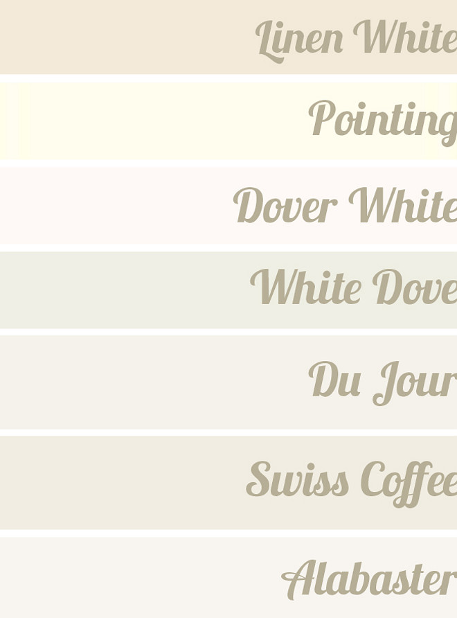 Popular White Paint Color. White Paint Color. Linen White Benjamin Moore 912. Farrow and Ball Pointing. Sherwin Williams Dover White. Benjamin Moore White Dove OC-17. Valspar Du Jour. Benjamin Moore Swiss Coffee OC-45. Benjamin Moore Alabaster OC-129. #LinenWhiteBenjaminMoore #FarrowandBallPointing #SherwinWilliamsDoverWhite #BenjaminMooreWhiteDoveOC17 #ValsparDuJour #BenjaminMooreSwissCoffeeOC45 #BenjaminMooreAlabasterOC129 #PaintColor #White #WhitePaintColor Via Hunted Interior.