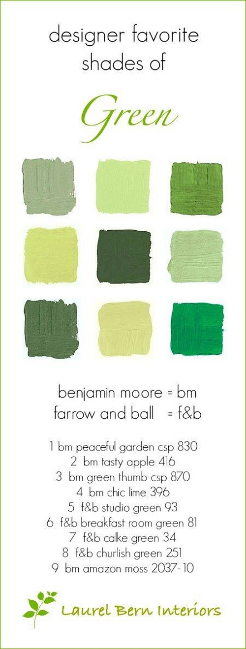 Popular Green Paint Colors. Green Front Door Paint Color. Benjamin Moore Peaceful Garden CSP 830. Benjamin Moore Tasty Apple 416. Benjamin Moore Green Thumb CSP 870. Benjamin Moore Chic Lime 396. Farrow and Ball Studio Green 93. Farrow and Ball Breakfast Room Green 81. Farrow and Ball Cake Green 34. Farrow and Ball Churlish Green 251. Benjamin Moore Amazon Moss 2037-10. #GreenPaintColor #Green #PaintColor #GreenPaints #FrontDoor By Laurel Bern Interiors.