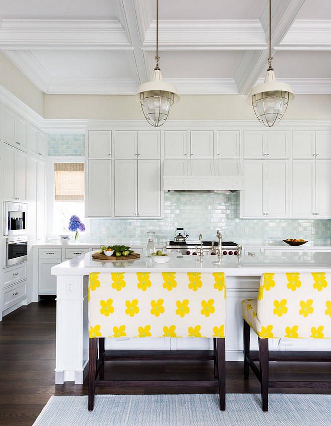 White kitchen with light blue tile backsplash. Light blue tile backsplash is available thru Hollingsworth Showroom in Jacksonville. Company is Madison Tile Company. Color is Ocean Breeze. #Lightbluetilebacksplash Andrew Howard Interior Design.