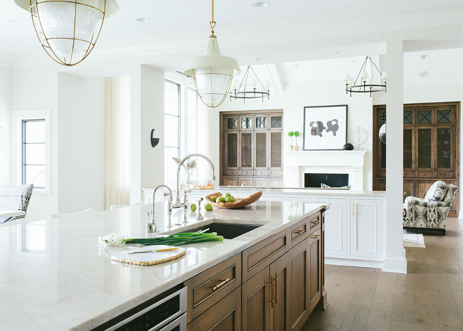 Kitchen and Family Room Lighting. Kitchen lighting is Thomas O' Brien Henry Industrial Hanging Light Pendant. Family room lighting is Classic Ring Chandelier from Circa Lighting. # ThomasOBrien #HenryIndustrialHangingLightPendant #ClassicRingChandelier #Lighting #KitchenLighting #FamilyRoomLighting #CircaLighting