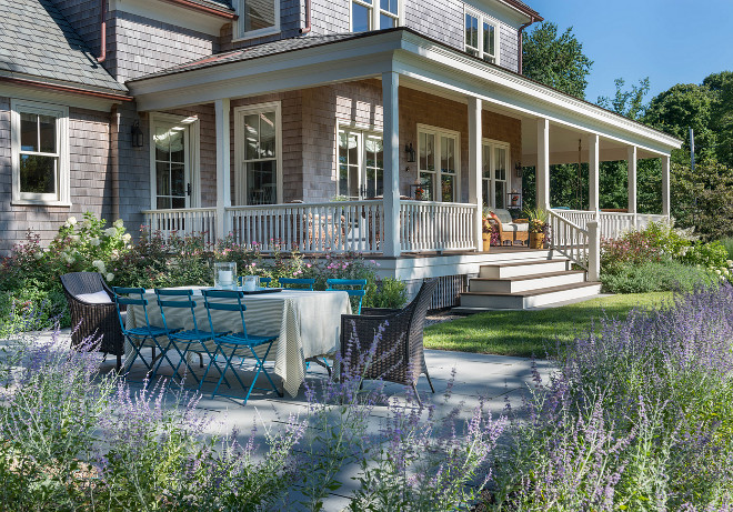 Shingle Home Landscaping. Shingle Home Landscaping Ideas. Shingle Home with Porch Landscaping. Choose Lavender and Hydrangeas for Shingle Home Landscaping. #ShingleHomeLandscaping. #ShingleHome #Landscaping #Gardens #Plants Taste Design Inc.