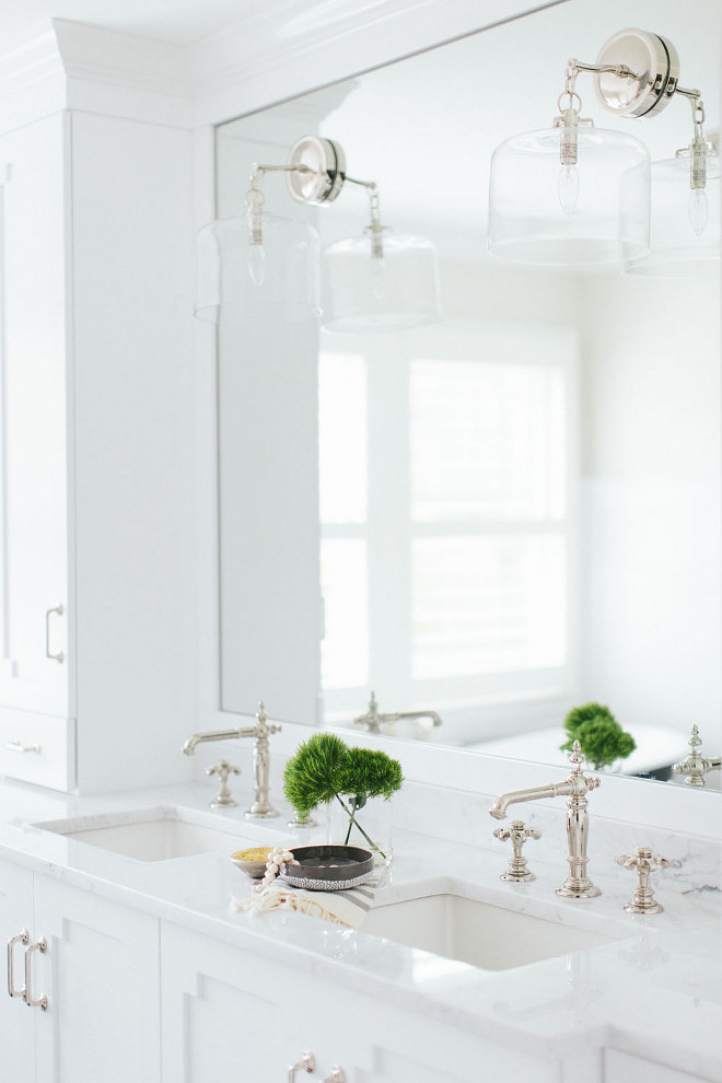 Double Sink. Bathroom Double Sink . Bathroom Double Sink with Marble Countertop. Double Sink. White cabinet with Double Sink Bathroom. Bathroom Double Sink. #BathroomDoubleSink #DoubleSink Kate Marker Interiors.