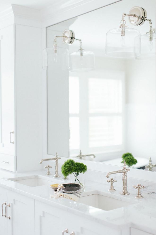 Double Sink. Bathroom Double Sink . Bathroom Double Sink with Marble Countertop. Double Sink. White cabinet with Double Sink Bathroom. Bathroom Double Sink. #BathroomDoubleSink #DoubleSink Kate Marker Interiors.