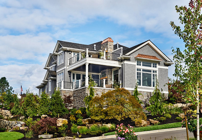 Grey Home Exterior with white trim paint color. Grey exterior paint color is Miller Paint Captain Nemo Item 0542. White trim paint color is Devine Color Paint Devine Icing #C-11. #Exterior #paintColor #whiteTrim #Greypaint