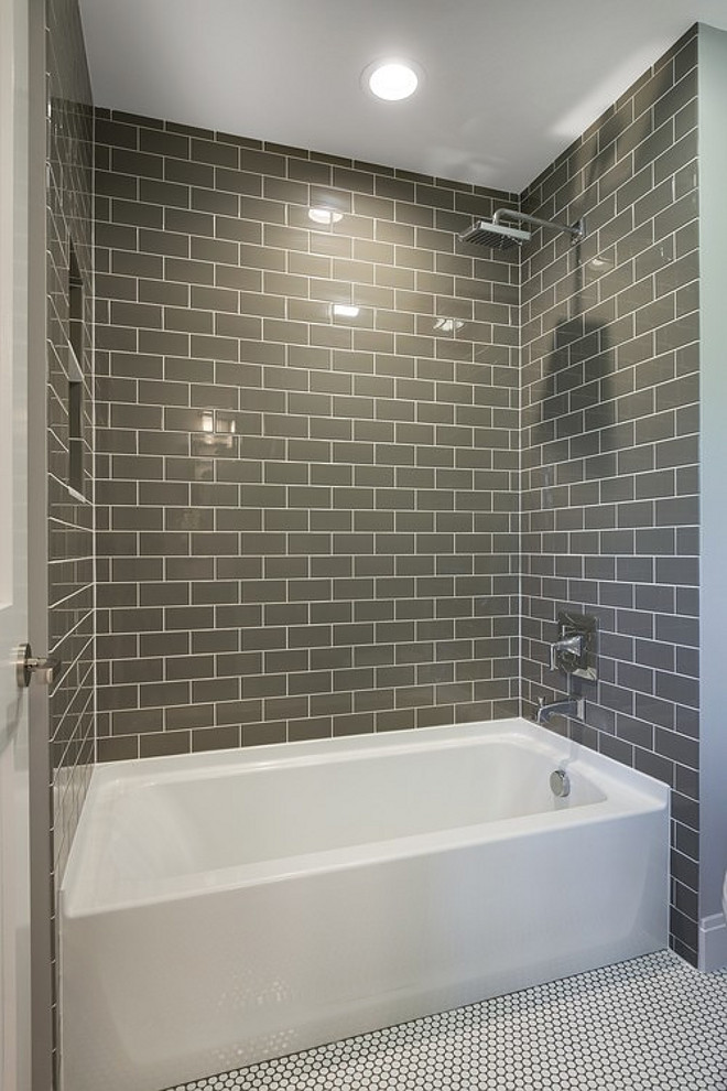 Bathroom Bath Nook with Floor to ceiling tiles. Bathroom Bath Nook with Floor to ceiling gray tiles. Bathroom Bath Nook with Floor to ceiling gray subway tiles. #Bathroom #BathNook #Floortoceilingtiles