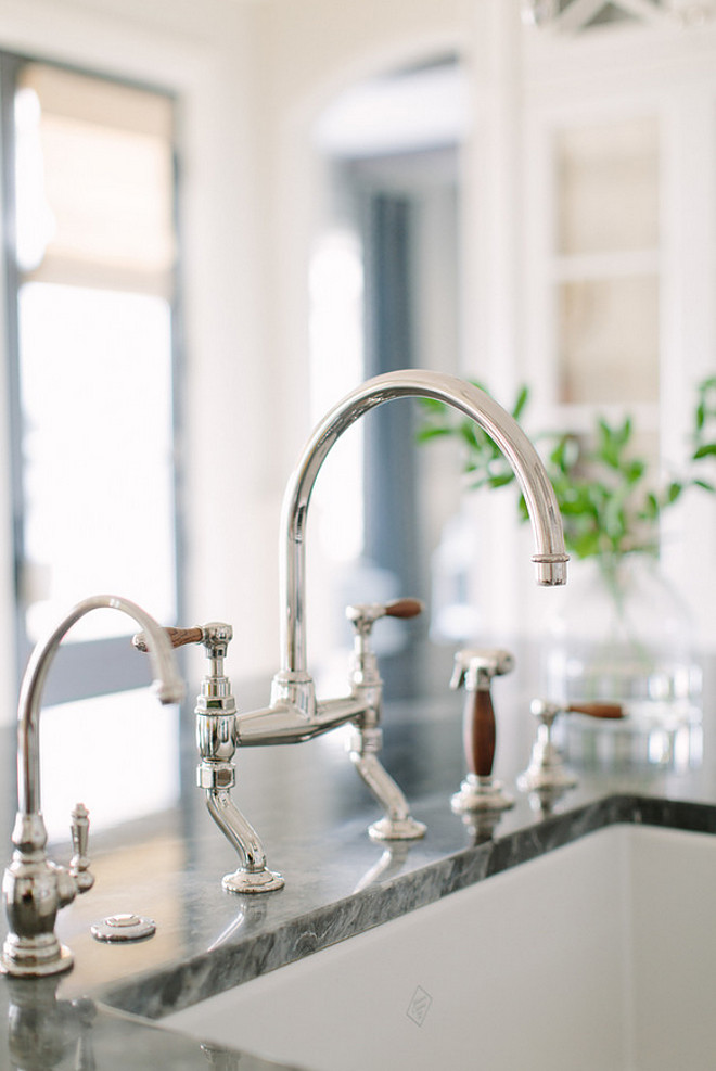 Kitchen Faucet. Waterworks Easton Classic two-hole bridge Gooseneck Kitchen Tap with spray, shown in nickel with oak lever handles. Wood handle Bridge Gooseneck Kitchen Faucet. #KitchenFaucet #WoodHandleFaucet #BridgeFaucet #BridgeGooseneckFaucet #sprayKitchenfaucet Kate Marker Interiors.