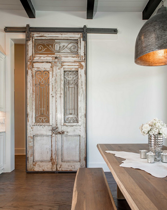 Antique Barn Door. Antique Sliding Barn Door. Antique Sliding Barn Door in Kitchen. Antique Sliding Barn Door Dining Room. #AntiqueSlidingBarnDoor Geschke Group Architecture.