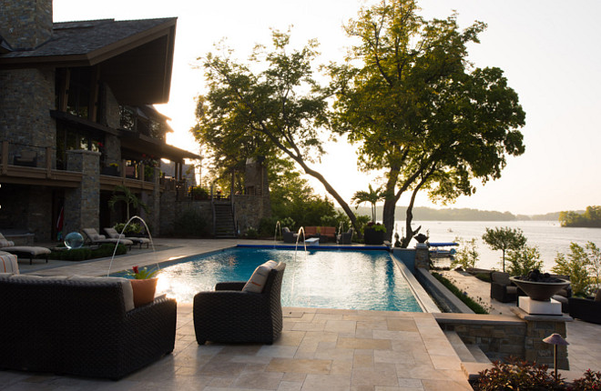Backyard Pool Ideas. Dream backyard with pool and lake view. Pool Backyard. #pool #backyard Studio M Interiors.