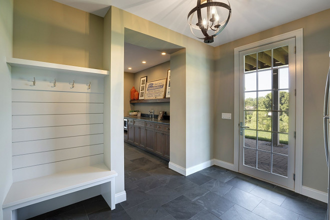 Basement Walk-out Foyer. Basement Walk-out Foyer Ideas. Basement Walk-out Foyer with Slate Flooring. #BasementWalkout #Foyer