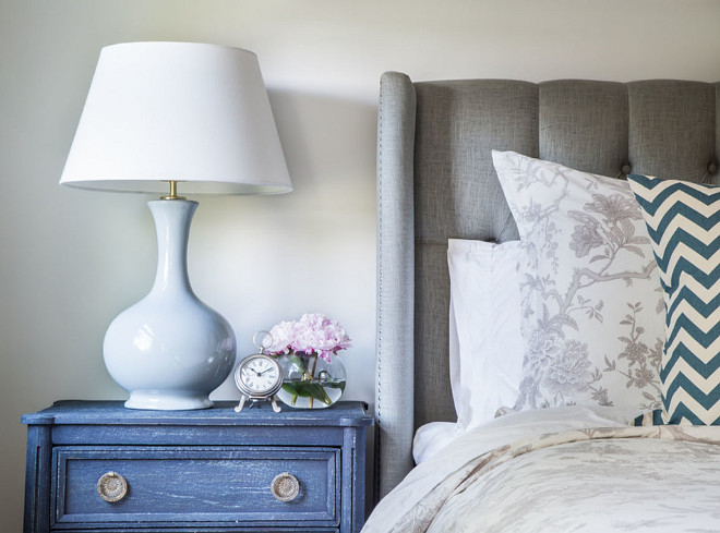 Bedroom Bedside Table Ideas. Coastal bedroom with bedside table from Anthropology. #Bedroom #Bedsidetable #anthropology