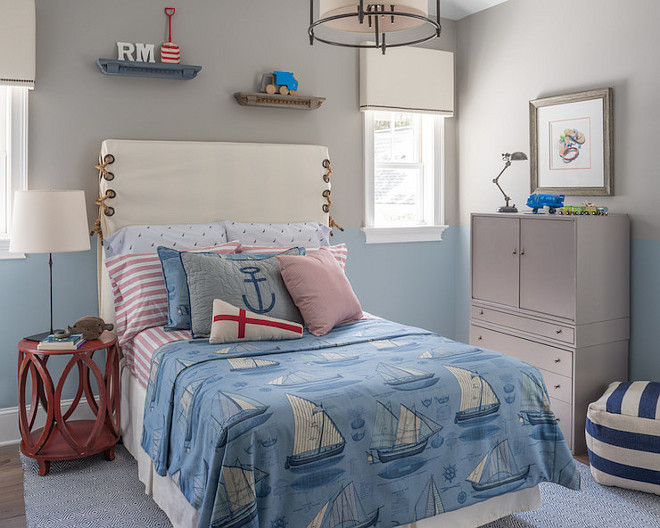 Benjamin Moore Santorini Blue. Lower wall paint color is Benjamin Moore Santorini Blue. #BenjaminMooreSantoriniBlue Reu Architects