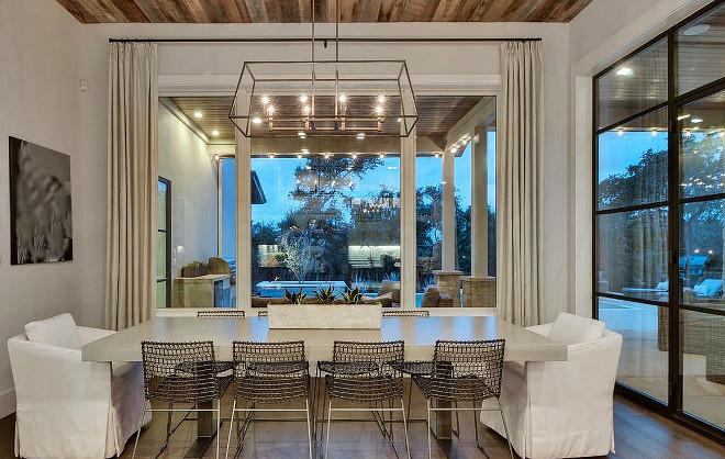 Black steel and glass patio door modern farmhouse dining room with black steel and glass
