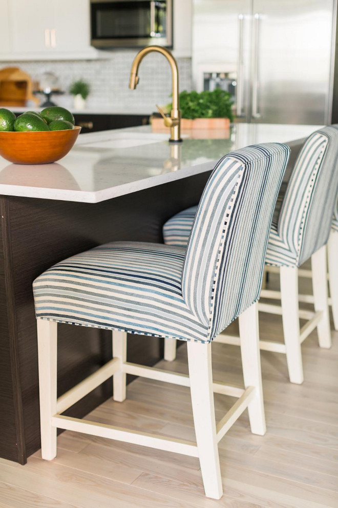 The 2016 HGTV Dream Home's kitchen barstool is Ethan Allen's Thomas Counter Stool, Karla/Blue - $639.00 each. #HGTVDreamHome2016 #Kitchen #barstool