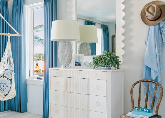 Blue and white bedroom. HGTV Dream Home 2016 Blue and white bedroom