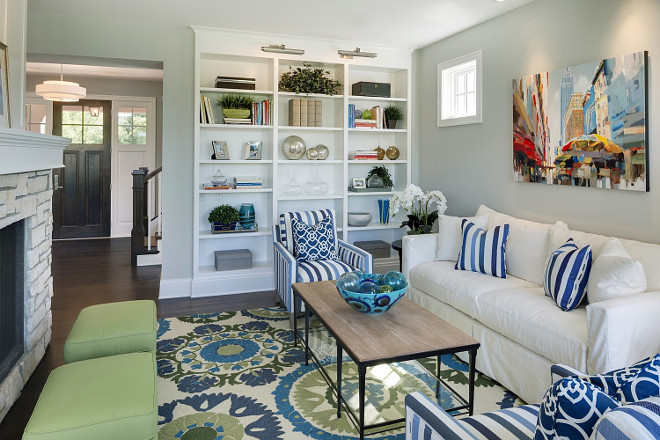 Colorful Living Room Blue white green living room. #ColorfulInteriors #Colors #ColorfulLivingRoom #bluewhitegreen Spacecrafting Photography. Carl M. Hansen Companies.