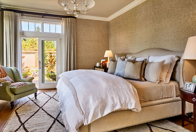 beautiful family home with traditional interiors home 13770 | damasc wallpaper ideas master bedroom with thibaut curtis linen damask wallpaper metallic gold on natural thibaut curtislinendamaskwallpaper metallic gold natural wallcovering masterbedroom damasc