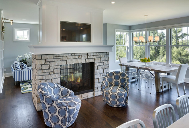Two story family home layout ideas home bunch interior - Fireplace between two rooms ...