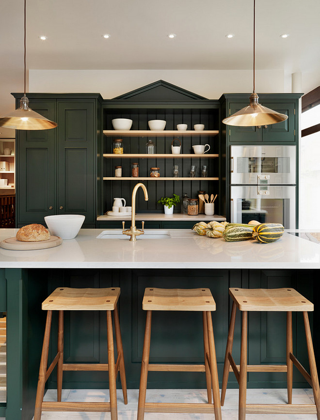 Farrow and Ball Studio Green No. 93. Green Cabinet Paint Color is Farrow and Ball Studio Green No. 93. #FarrowandBallStudioGreen Teddy Edwards.