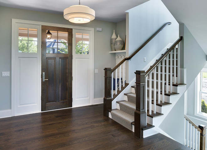 decor foyer Gray : Foyer. Grey Foyer with Hardwood Floor and Built-in Bench in small nook ...