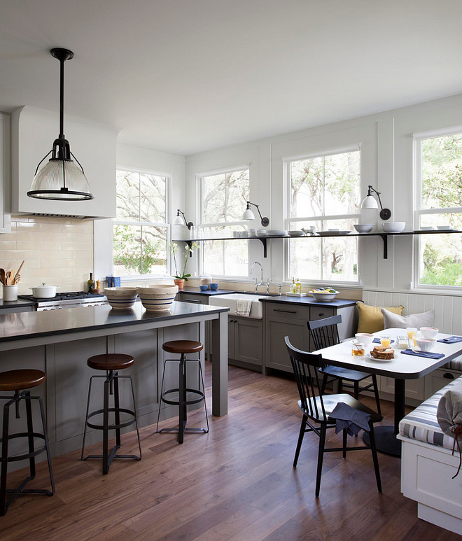 Gray Farmhouse Kitchen Paint Is Benjamin Moore Dolphin AF 175 BenjaminMooreDolphinAF175 GrayFarmhousekitchen Tim
