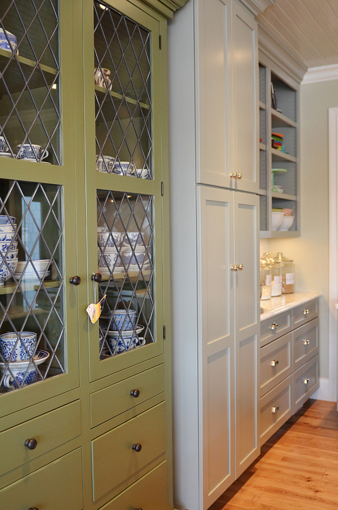 Great Barrington Green by Benjamin Moore. The green cabinet paint color is Great Barrington Green by Benjamin Moore. The gray cabinet paint color is Fieldstone by Benjamin Moore. Life in Grace