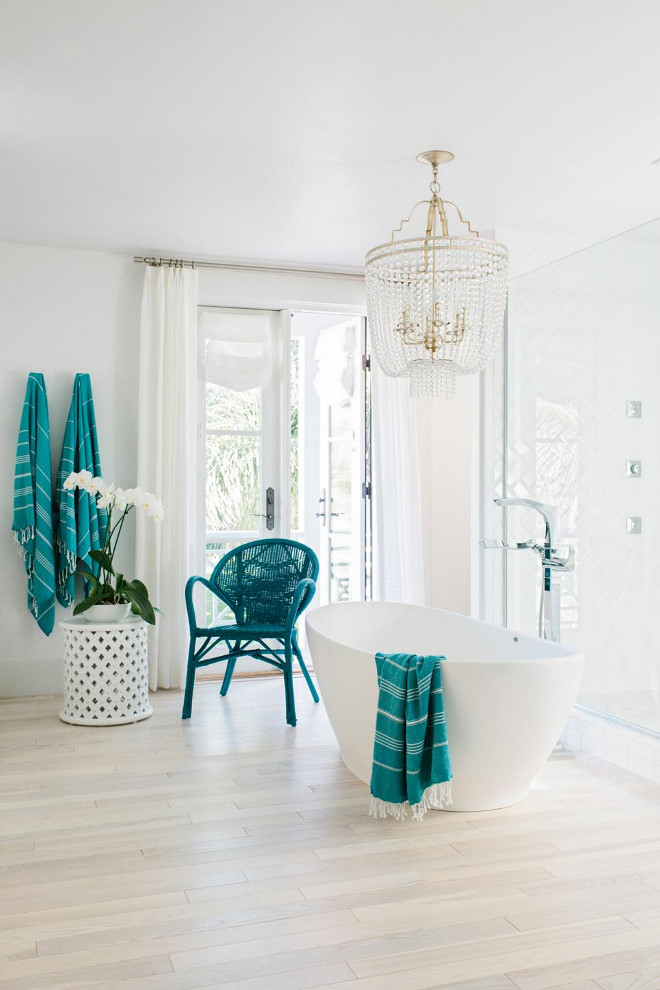 HGTV Dream Home 2016 Bathroom. A crisp white and coastal blue color palette and opulent amenities make the master bathroom the most luxurious room in the house.