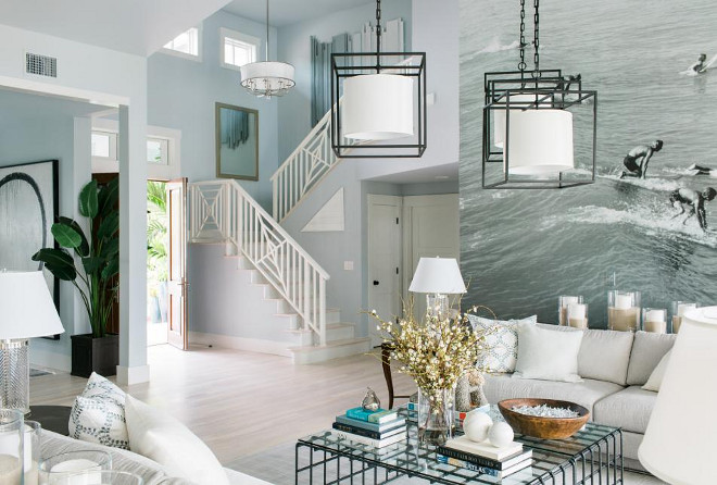 HGTV Dream Home 2016 Foyer. HGTV Dream Home 2016 Foyer Paint Color is Glidden Quiet Rain. Trim Paint Color is Glidden White. #GliddenQuietRain #GliddenWhite