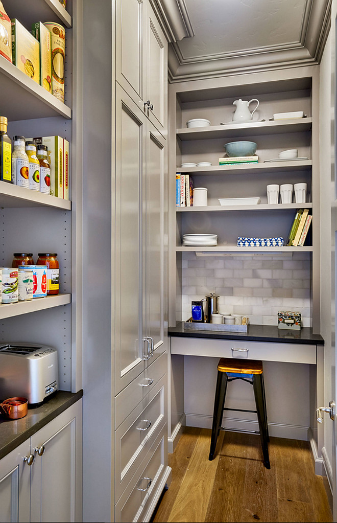 Kitchen Pantry. Kitchen pantry cabinet paint color. Gray kitchen pantry cabinet paint color is Benjamin Moore CC-518 Escarpment in semi-gloss. #kitchenpantry #cabinet #paintcolor