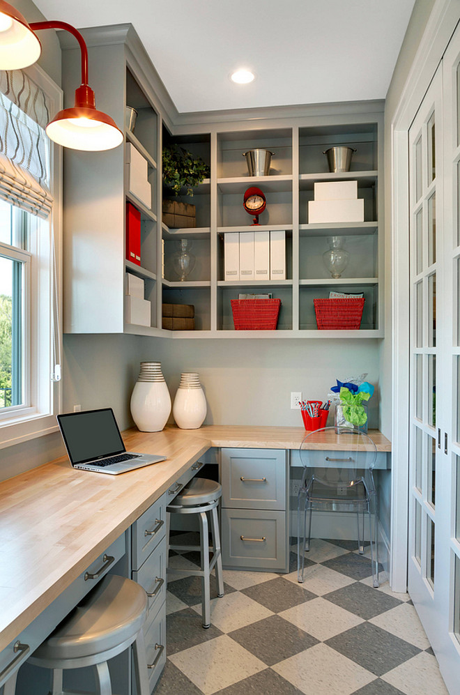 Kitchen Pantry. Kitchen pantry with lots of storage, bookcases, built-in desk and checkered floor tile. #KitchenPantry #pantry #storage #bookcases #Shelves #builtindesk #checkeredfloortile.