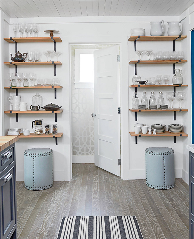 Kitchen Storage. Create more storage space in your kitchen by adding open shelving on an empty wall. Kitchen Storage Solutions. Small Kitchen Storage. Small Kitchen Storage Ideas. #KitchenStorage