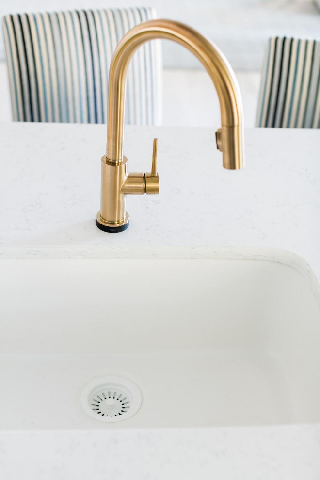 Kitchen faucet is Delta Trinsic® Single Handle Pull-Down Kitchen Faucet with Touch2O Technology Model # 9159T-CZ-DST Color is Champagne Bronze.