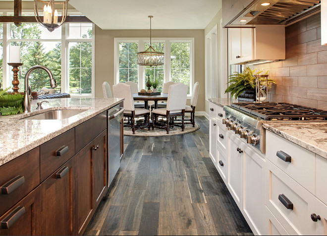 Kitchen flooring. Kitchen wood floor type ideas. #Kitchenflooring Pillar Homes.