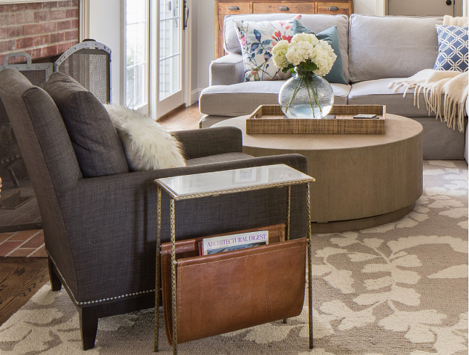 Living room chair side table. Living room chair side table ideas. Living room chair is from Arhaus. Living room side table is from Kathy Kuo Home. #LivingRoom #Chair #Sidetable